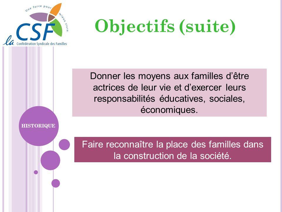 Objectifs (suite) Faire reconnaître la place des familles dans la construction de la société. Donner les moyens aux familles dêtre actrices de leur vi