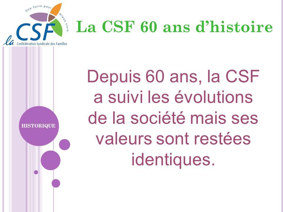 Depuis 60 ans, la CSF a suivi les évolutions de la société mais ses valeurs sont restées identiques. HISTORIQUE La CSF 60 ans dhistoire