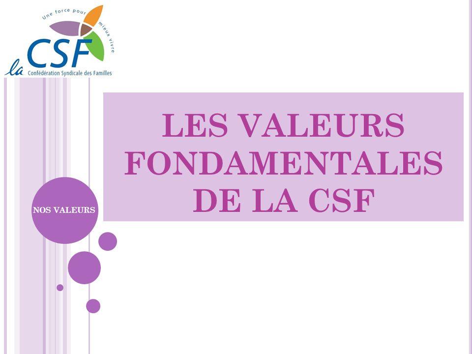 LES VALEURS FONDAMENTALES DE LA CSF NOS VALEURS