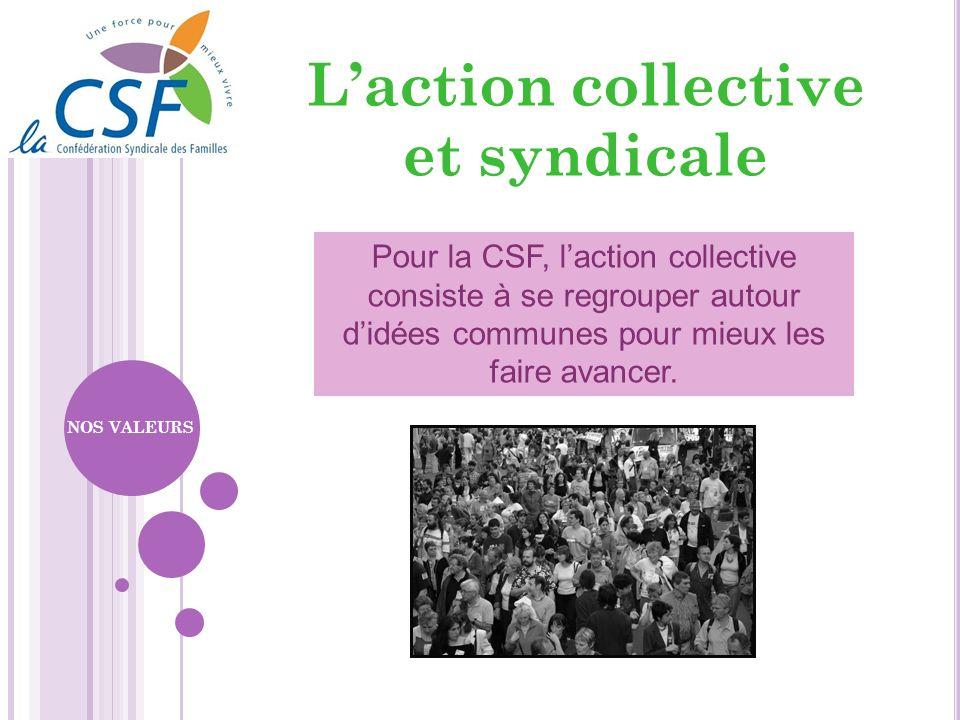 Pour la CSF, laction collective consiste à se regrouper autour didées communes pour mieux les faire avancer. NOS VALEURS Laction collective et syndica