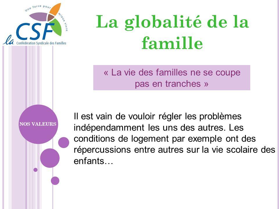 La globalité de la famille « La vie des familles ne se coupe pas en tranches » Il est vain de vouloir régler les problèmes indépendamment les uns des