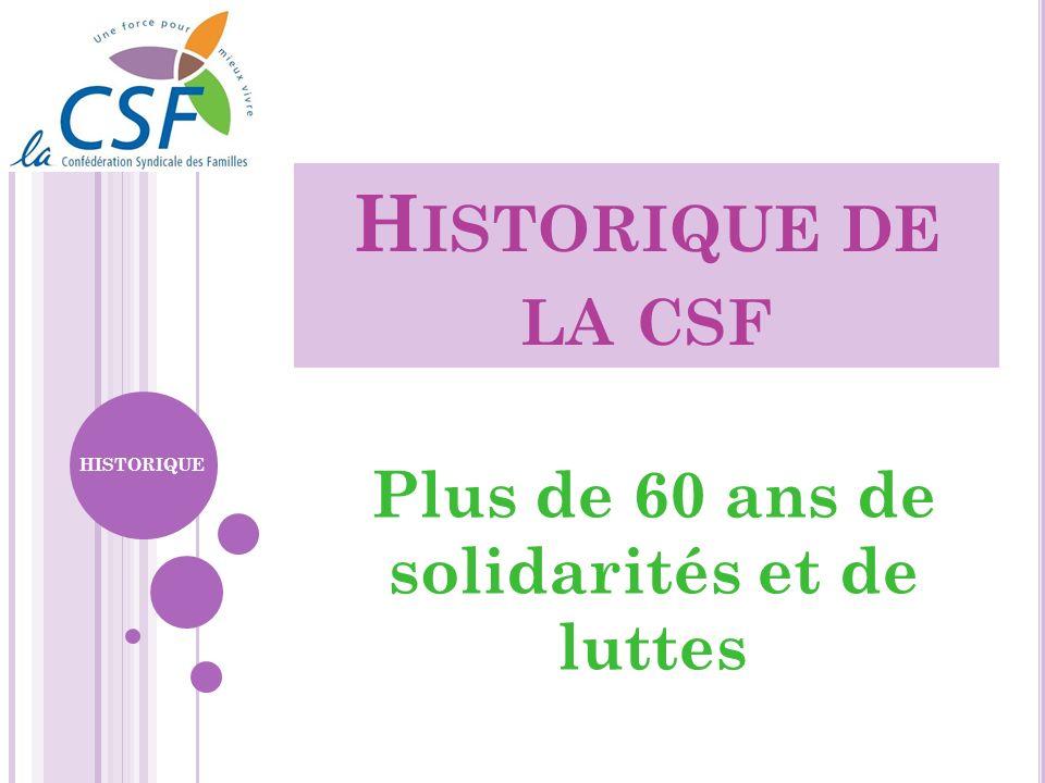 H ISTORIQUE DE LA CSF Plus de 60 ans de solidarités et de luttes HISTORIQUE
