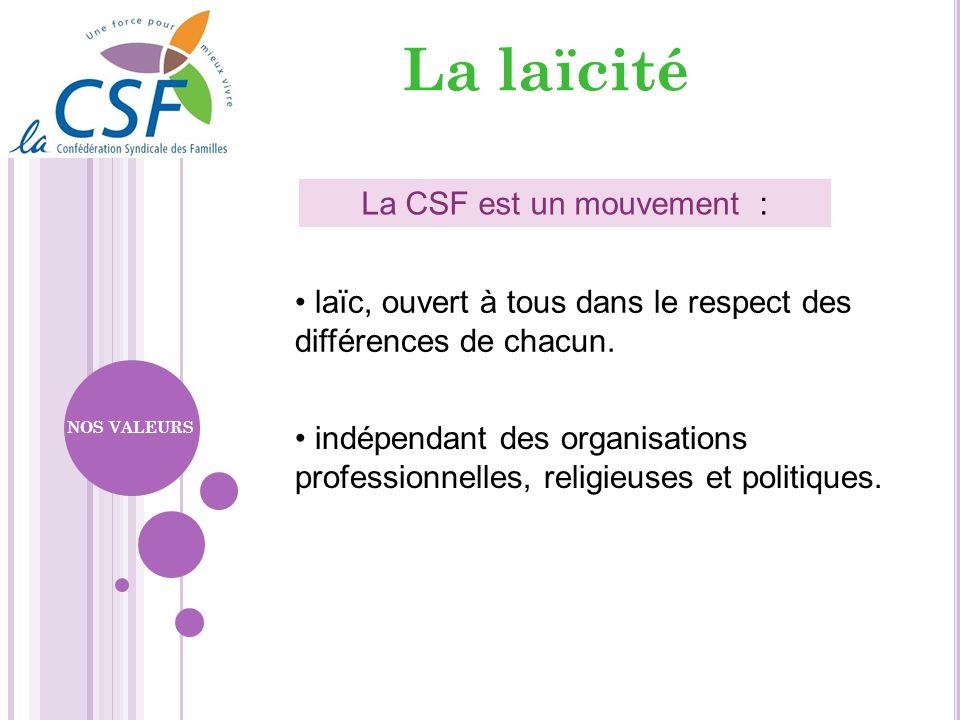 La laïcité La CSF est un mouvement : laïc, ouvert à tous dans le respect des différences de chacun. indépendant des organisations professionnelles, re