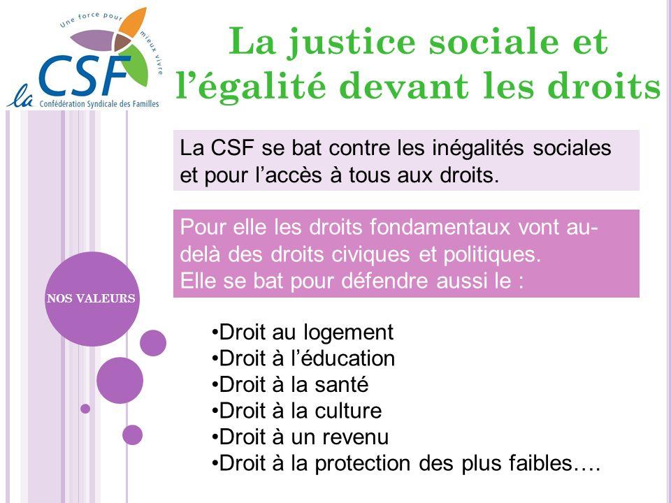 La CSF se bat contre les inégalités sociales et pour laccès à tous aux droits. Droit au logement Droit à léducation Droit à la santé Droit à la cultur