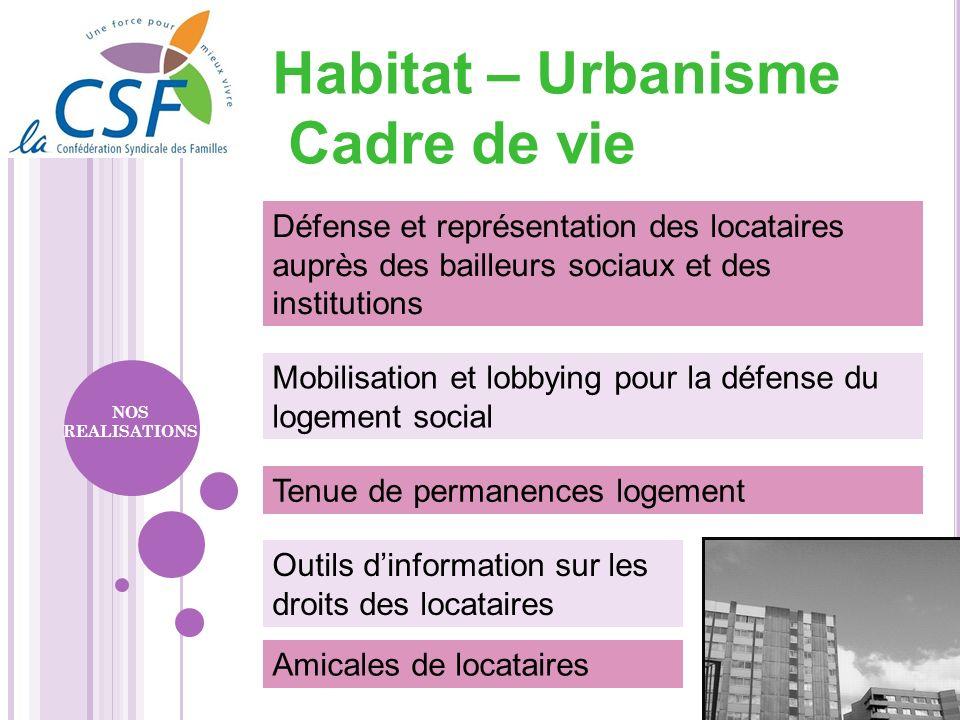 Outils dinformation sur les droits des locataires Défense et représentation des locataires auprès des bailleurs sociaux et des institutions NOS REALIS