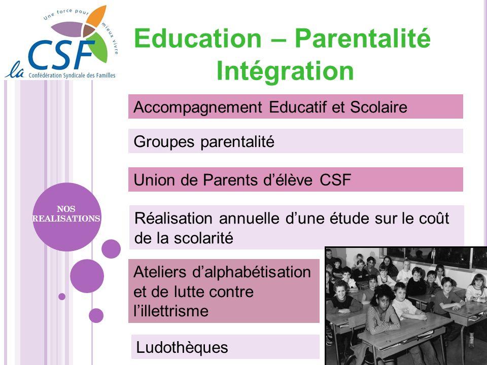 Union de Parents délève CSF Groupes parentalité Accompagnement Educatif et Scolaire Réalisation annuelle dune étude sur le coût de la scolarité NOS RE