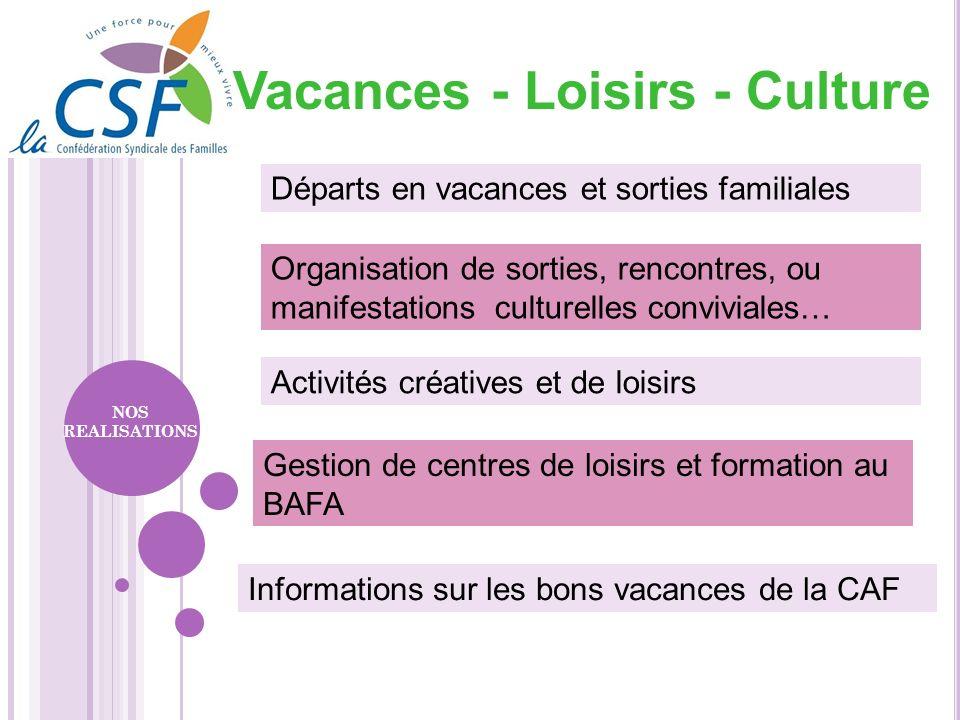 Gestion de centres de loisirs et formation au BAFA Informations sur les bons vacances de la CAF Organisation de sorties, rencontres, ou manifestations