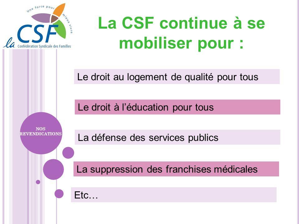 La CSF continue à se mobiliser pour : Le droit à léducation pour tous La défense des services publics La suppression des franchises médicales Le droit