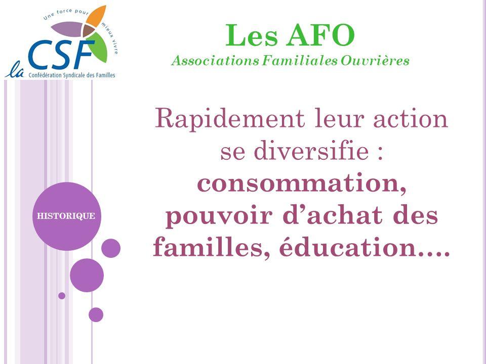 Les AFO Associations Familiales Ouvrières Rapidement leur action se diversifie : consommation, pouvoir dachat des familles, éducation…. HISTORIQUE