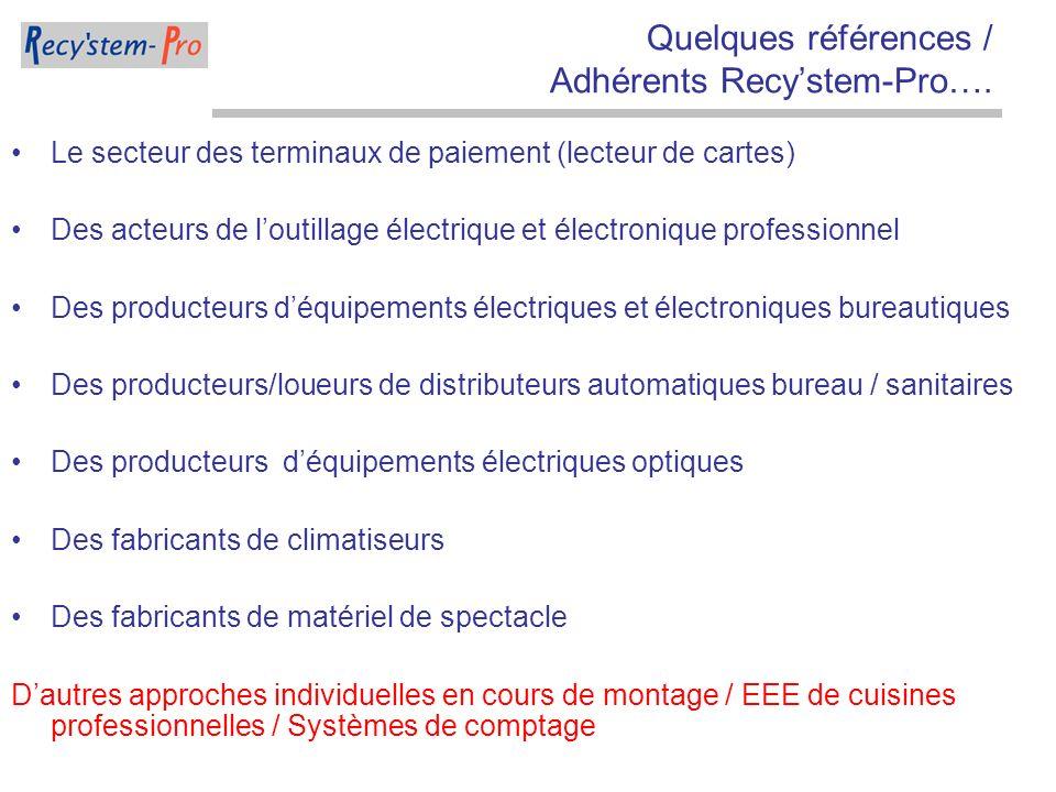 Quelques références / Adhérents Recystem-Pro…. Le secteur des terminaux de paiement (lecteur de cartes) Des acteurs de loutillage électrique et électr