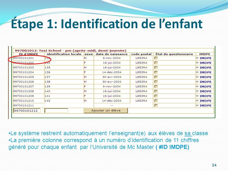 Étape 1: Identification de lenfant 34 Le système restreint automatiquement lenseignant(e) aux élèves de sa classe La première colonne correspond à un