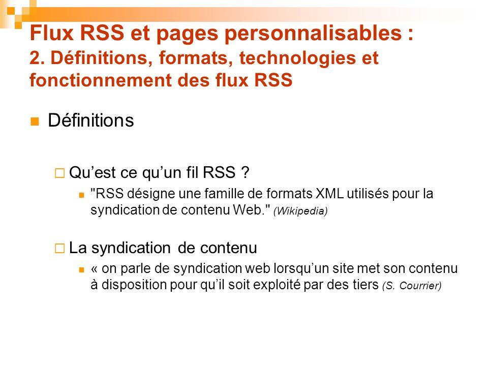 Flux RSS et pages personnalisables : 2. Définitions, formats, technologies et fonctionnement des flux RSS Définitions Quest ce quun fil RSS ?
