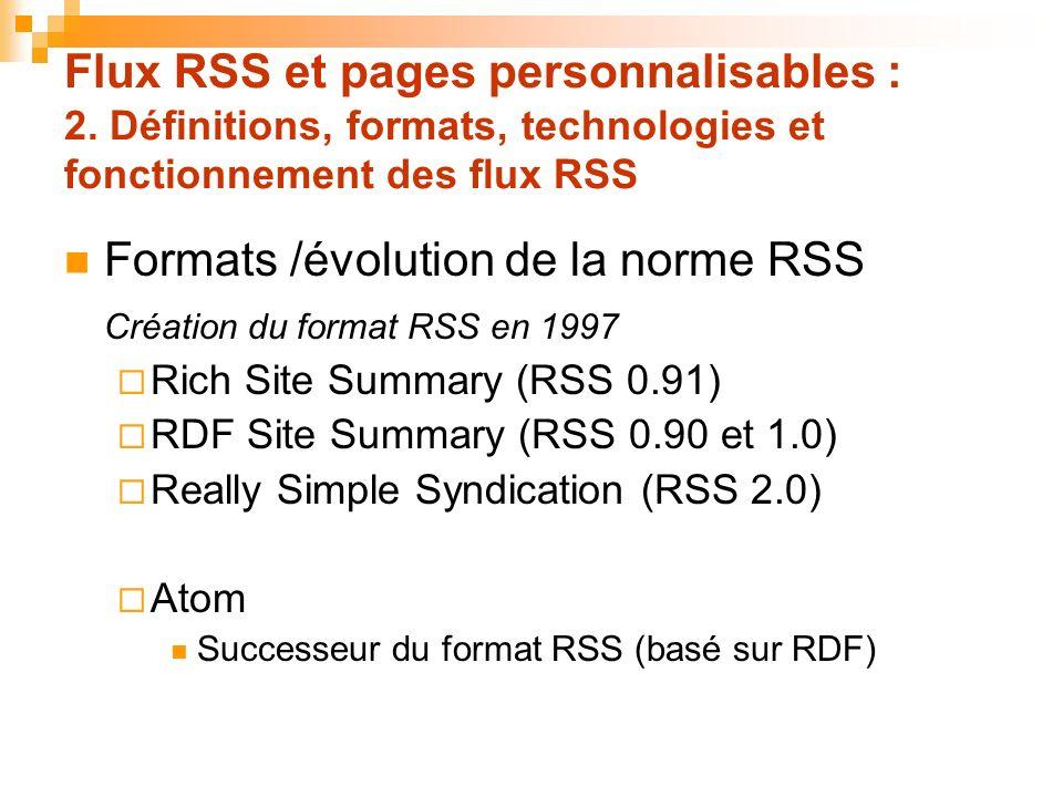 Flux RSS et pages personnalisables : 2. Définitions, formats, technologies et fonctionnement des flux RSS Formats /évolution de la norme RSS Création