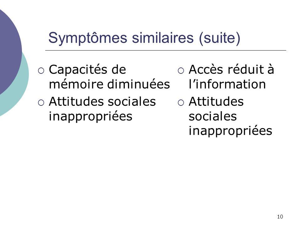 10 Symptômes similaires (suite) Capacités de mémoire diminuées Attitudes sociales inappropriées Accès réduit à linformation Attitudes sociales inappro
