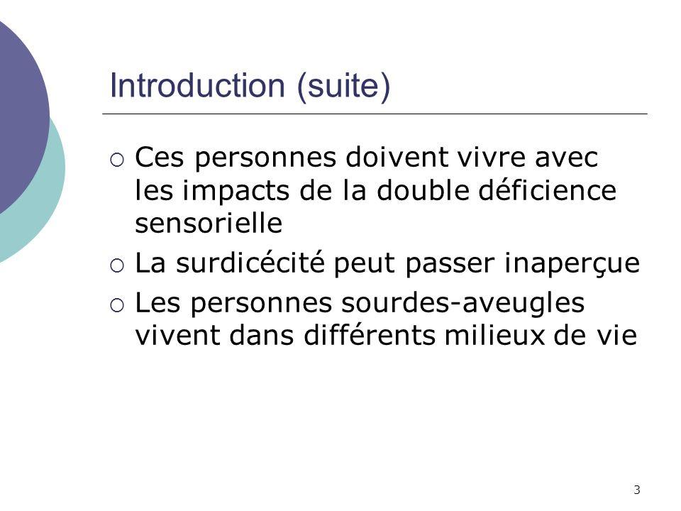 3 Introduction (suite) Ces personnes doivent vivre avec les impacts de la double déficience sensorielle La surdicécité peut passer inaperçue Les perso
