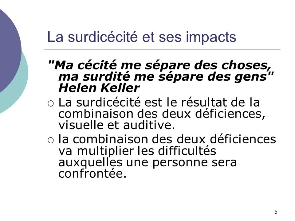 5 La surdicécité et ses impacts