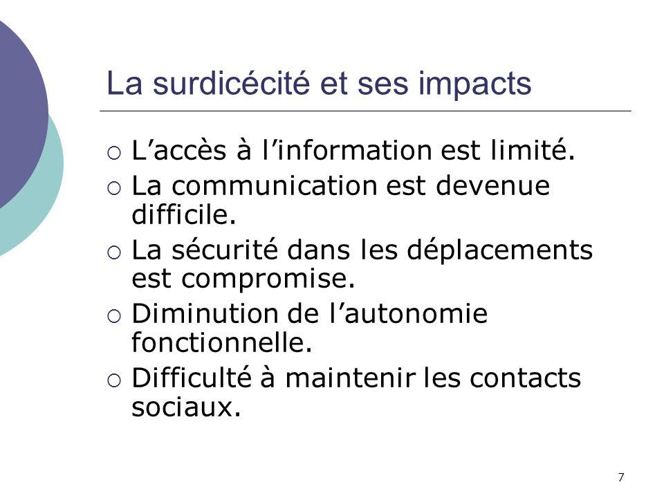 7 La surdicécité et ses impacts Laccès à linformation est limité. La communication est devenue difficile. La sécurité dans les déplacements est compro
