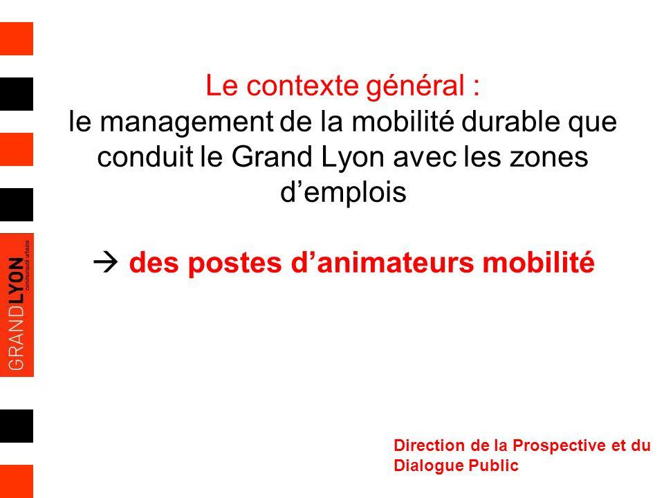 Le contexte général : le management de la mobilité durable que conduit le Grand Lyon avec les zones demplois des postes danimateurs mobilité