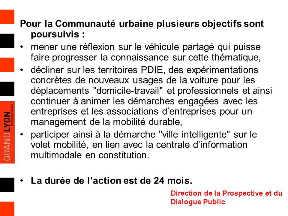 Direction de la Prospective et du Dialogue Public Pour la Communauté urbaine plusieurs objectifs sont poursuivis : mener une réflexion sur le véhicule