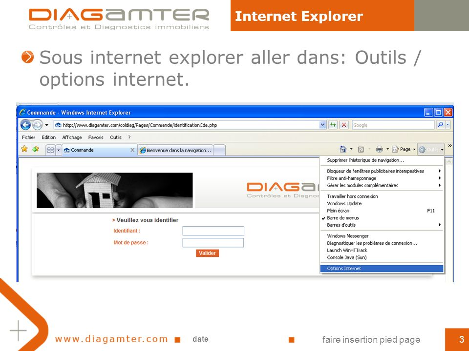Sous internet explorer aller dans: Outils / options internet.