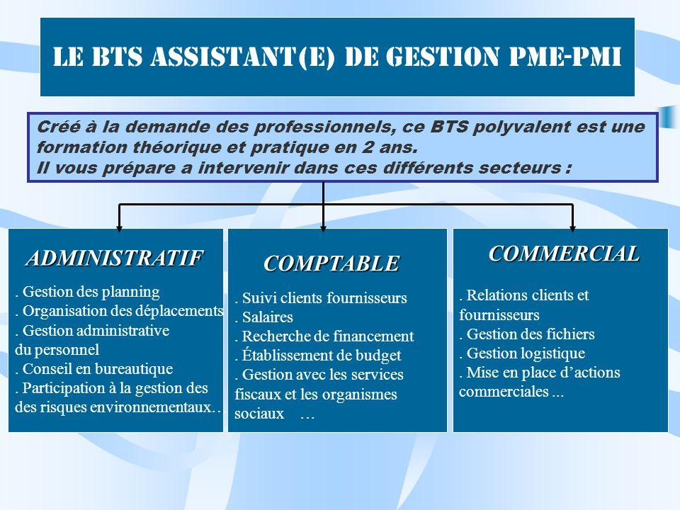 Le BTS Assistant(e) de Gestion PME-PMI Créé à la demande des professionnels, ce BTS polyvalent est une formation théorique et pratique en 2 ans. Il vo