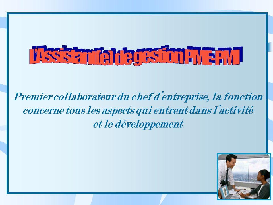 Premier collaborateur du chef dentreprise, la fonction concerne tous les aspects qui entrent dans lactivité et le développement
