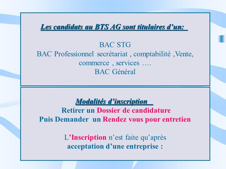 Les candidats au BTS AG sont titulaires dun: Les candidats au BTS AG sont titulaires dun: BAC STG BAC Professionnel secrétariat, comptabilité,Vente, c
