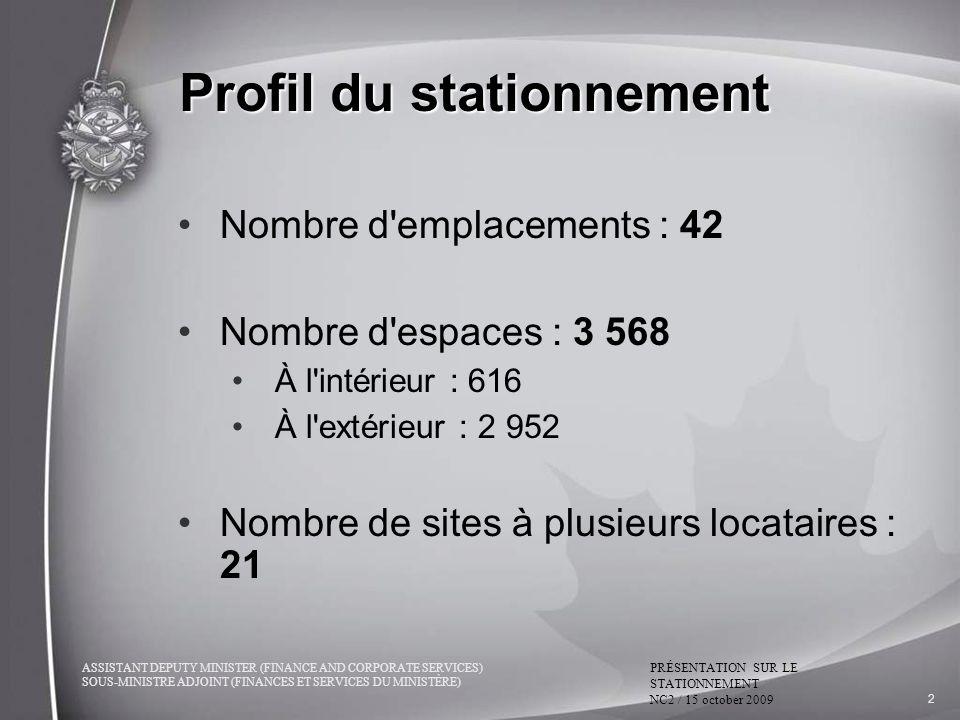 ASSISTANT DEPUTY MINISTER (FINANCE AND CORPORATE SERVICES) SOUS-MINISTRE ADJOINT (FINANCES ET SERVICES DU MINISTÈRE) PRÉSENTATION SUR LE STATIONNEMENT NC2 / 15 october 2009 2 Profil du stationnement Nombre d emplacements : 42 Nombre d espaces : 3 568 À l intérieur : 616 À l extérieur : 2 952 Nombre de sites à plusieurs locataires : 21
