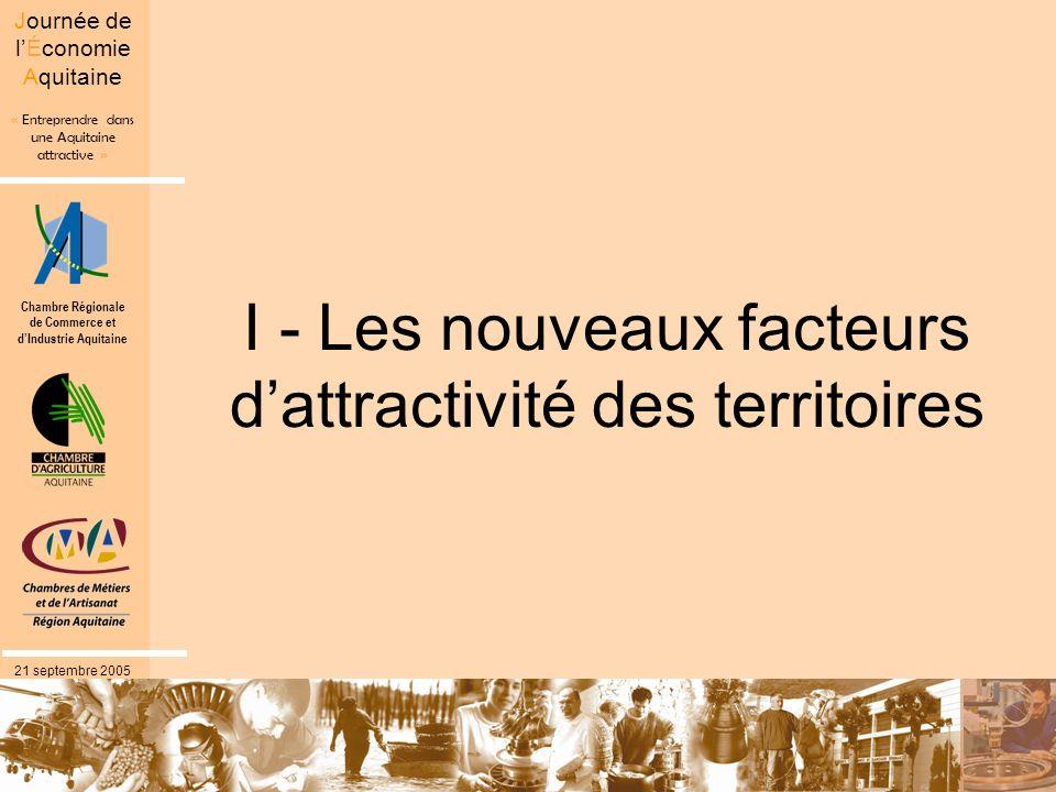 Chambre Régionale de Commerce et dIndustrie Aquitaine « Entreprendre dans une Aquitaine attractive » Journée de lÉconomie Aquitaine 21 septembre 2005 Les entreprises redessinnent l attractivit é des territoires … … Et délaisseraient les facteurs traditionnels .