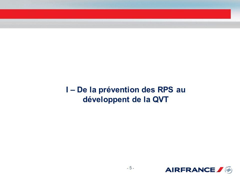 I – De la prévention des RPS au développent de la QVT - 5 -