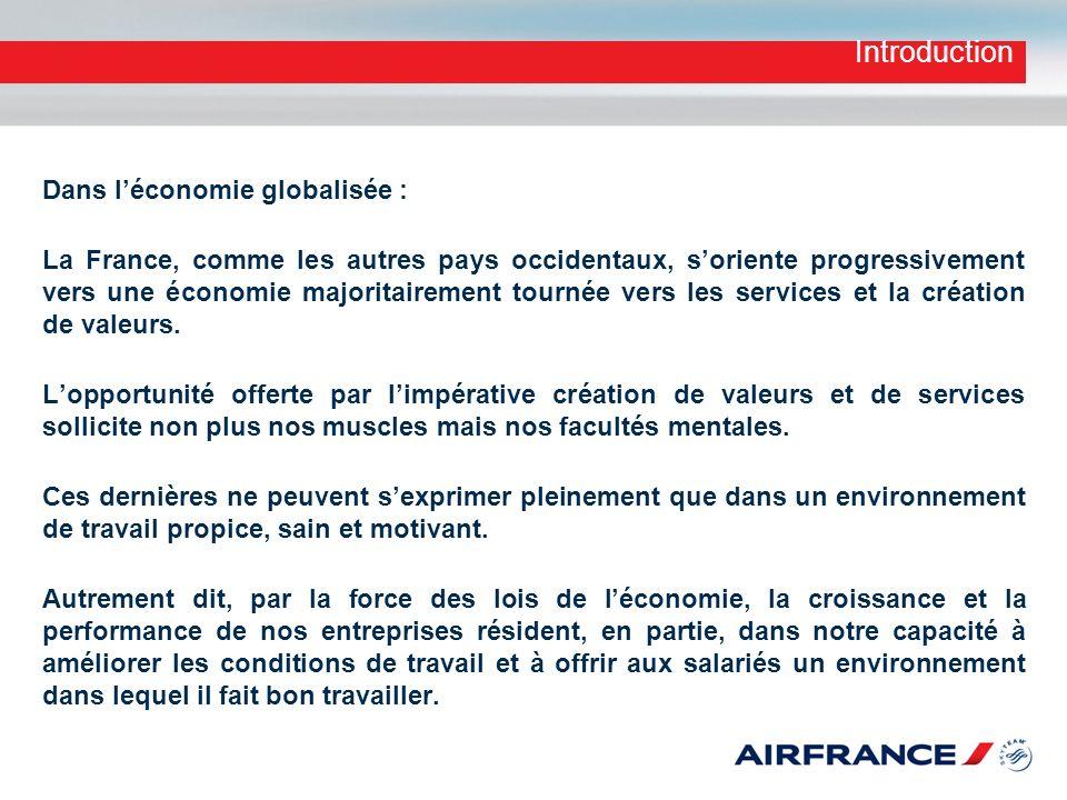 Introduction Dans léconomie globalisée : La France, comme les autres pays occidentaux, soriente progressivement vers une économie majoritairement tour