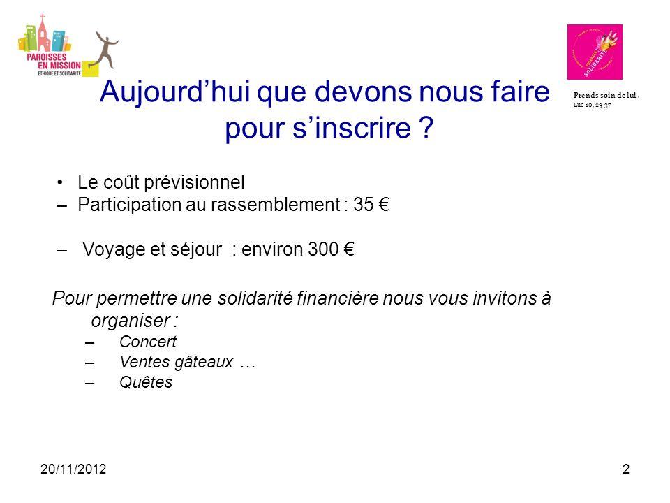 20/11/20122 Pour permettre une solidarité financière nous vous invitons à organiser : –Concert –Ventes gâteaux … –Quêtes Aujourdhui que devons nous fa