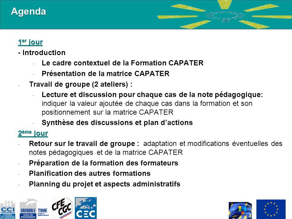1 er jour - Introduction - Le cadre contextuel de la Formation CAPATER - Présentation de la matrice CAPATER - Travail de groupe (2 ateliers) : - Lectu