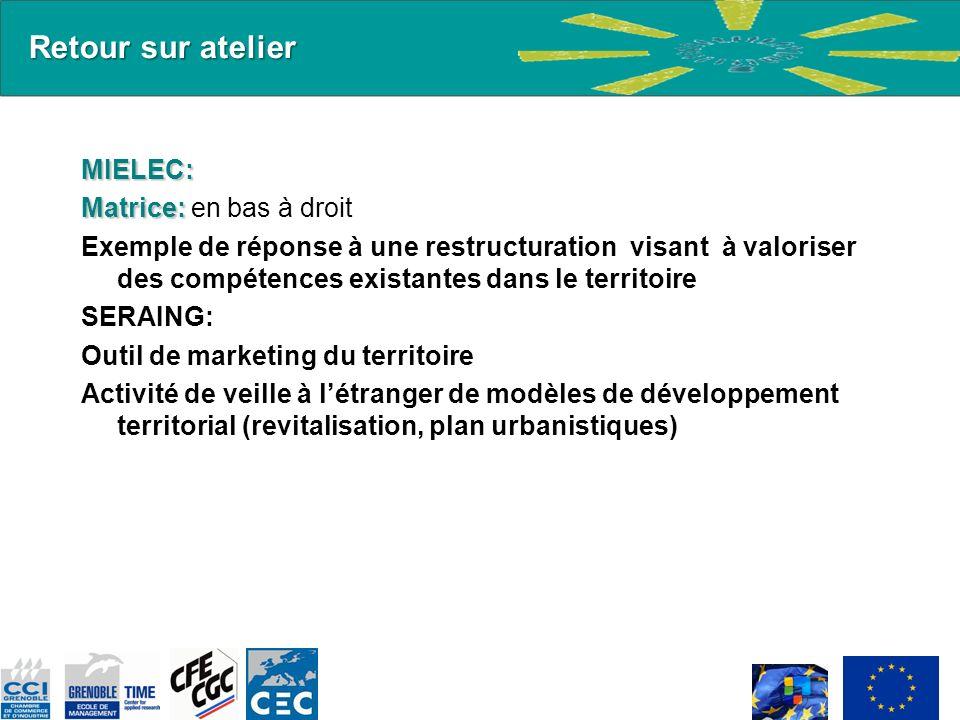 Retour sur atelier MIELEC: Matrice: Matrice: en bas à droit Exemple de réponse à une restructuration visant à valoriser des compétences existantes dan