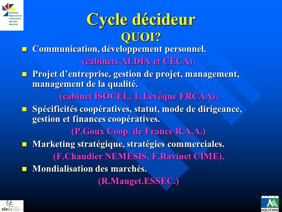 Cycle décideur QUOI? Communication, développement personnel. Communication, développement personnel. (cabinets ALDIA et CECA). Projet dentreprise, ges