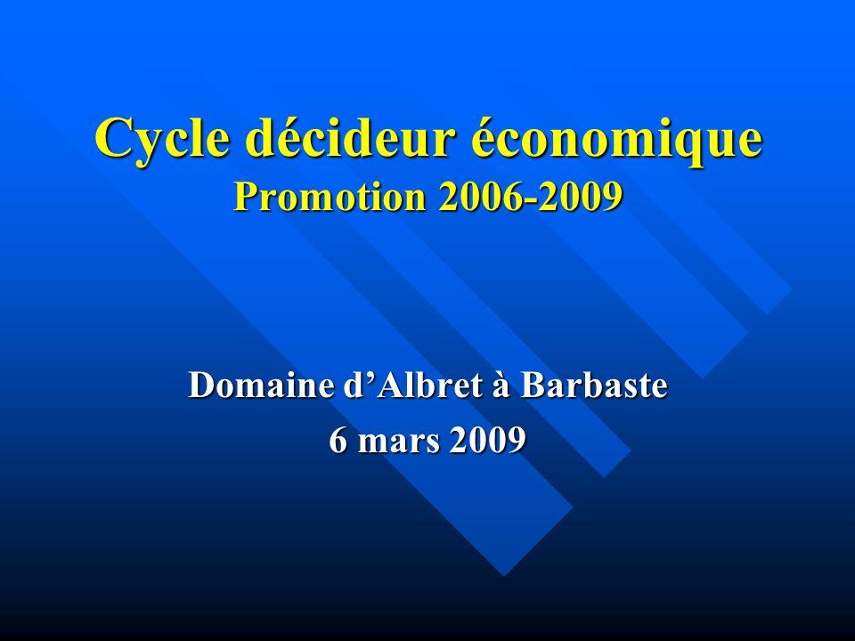 Cycle décideur économique Promotion 2006-2009 Domaine dAlbret à Barbaste 6 mars 2009