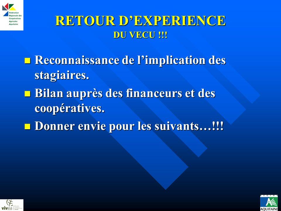 RETOUR DEXPERIENCE DU VECU !!. Reconnaissance de limplication des stagiaires.