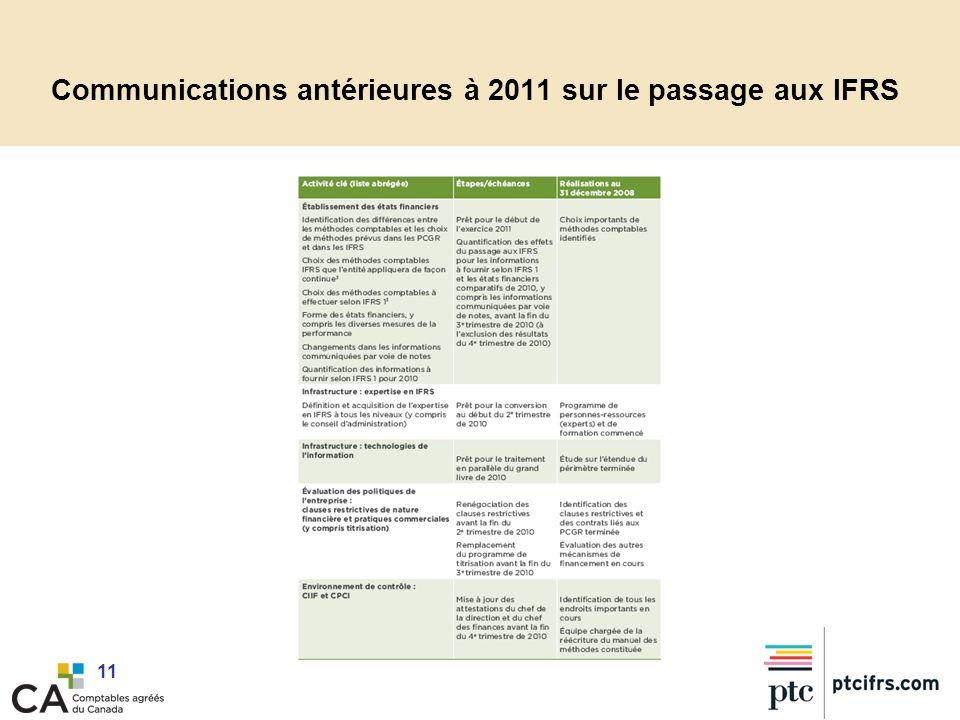 11 Communications antérieures à 2011 sur le passage aux IFRS
