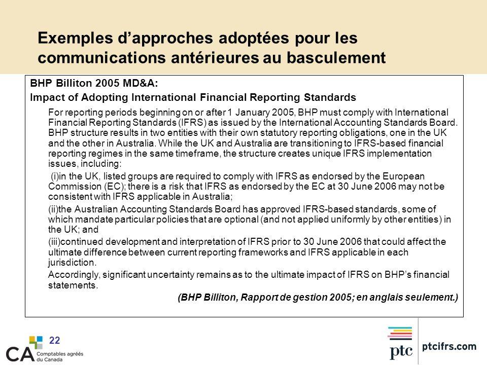 22 Exemples dapproches adoptées pour les communications antérieures au basculement BHP Billiton 2005 MD&A: Impact of Adopting International Financial
