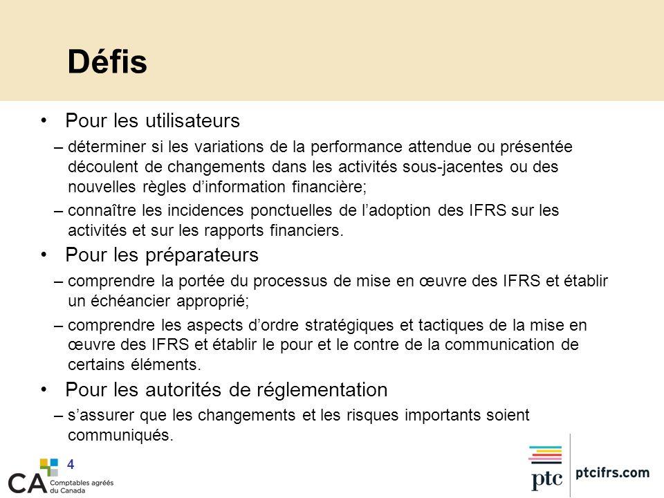 5 Préoccupations des utilisateurs –Selon la démarche prévue dans lIFRS 1 : au basculement en 2011, seuls les chiffres de létat des résultats de 2010 devront être retraités, en lien avec la première adoption des IFRS en 2011.