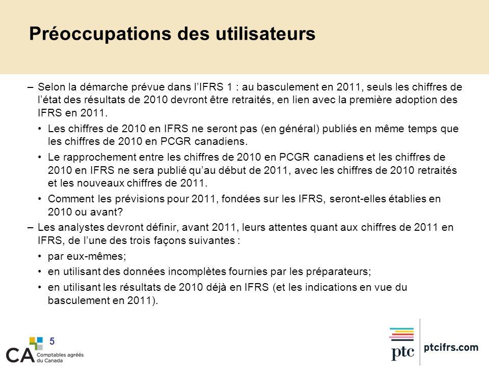 5 Préoccupations des utilisateurs –Selon la démarche prévue dans lIFRS 1 : au basculement en 2011, seuls les chiffres de létat des résultats de 2010 d