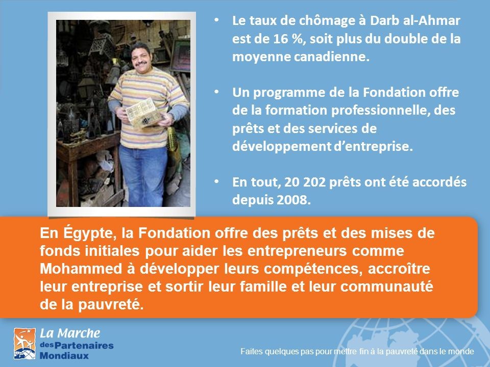 Faites quelques pas pour mettre fin à la pauvreté dans le monde En Égypte, la Fondation offre des prêts et des mises de fonds initiales pour aider les