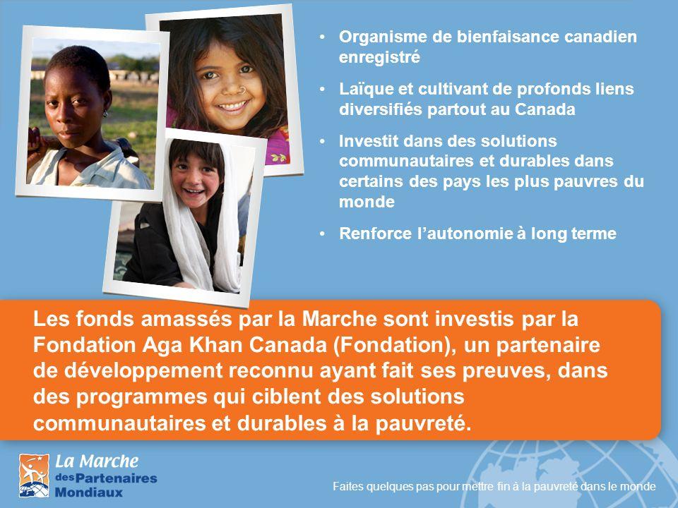 Faites quelques pas pour mettre fin à la pauvreté dans le monde Les fonds amassés par la Marche sont investis par la Fondation Aga Khan Canada (Fondat