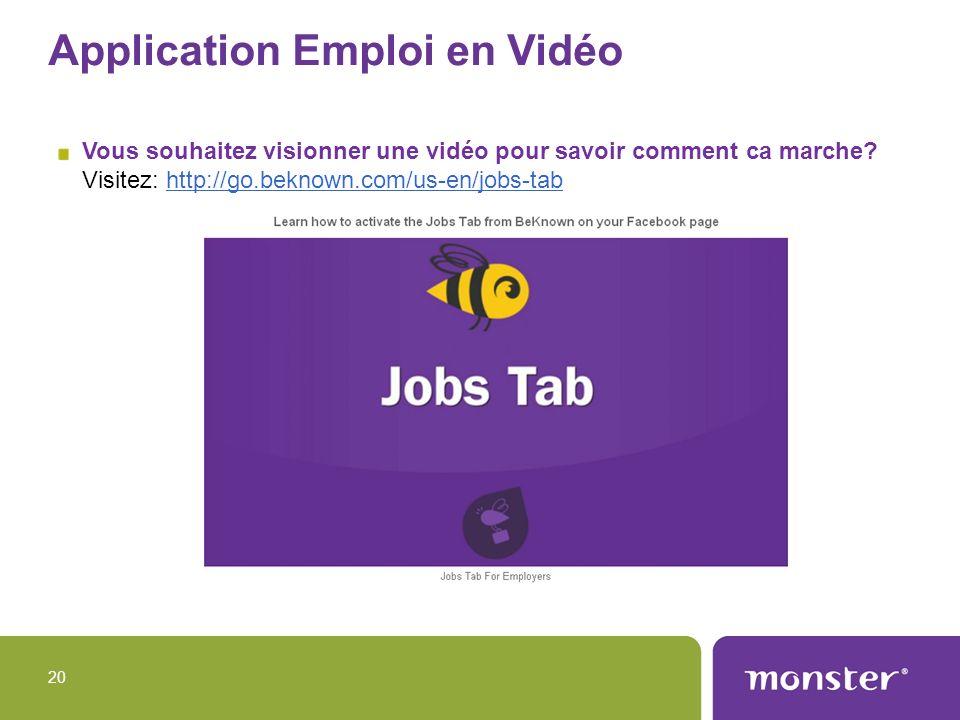 Application Emploi en Vidéo Vous souhaitez visionner une vidéo pour savoir comment ca marche? Visitez: http://go.beknown.com/us-en/jobs-tabhttp://go.b