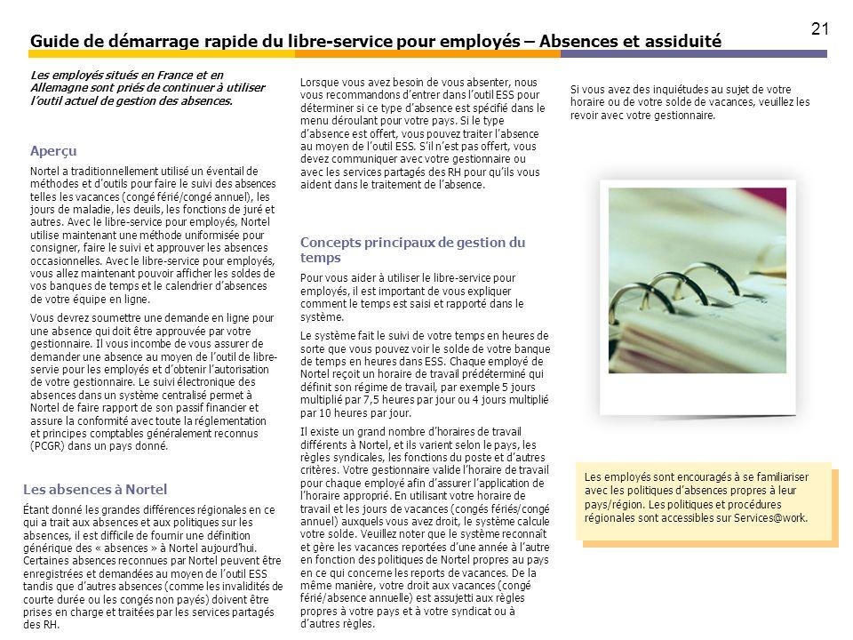 21 Guide de démarrage rapide du libre-service pour employés – Absences et assiduité Aperçu Nortel a traditionnellement utilisé un éventail de méthodes