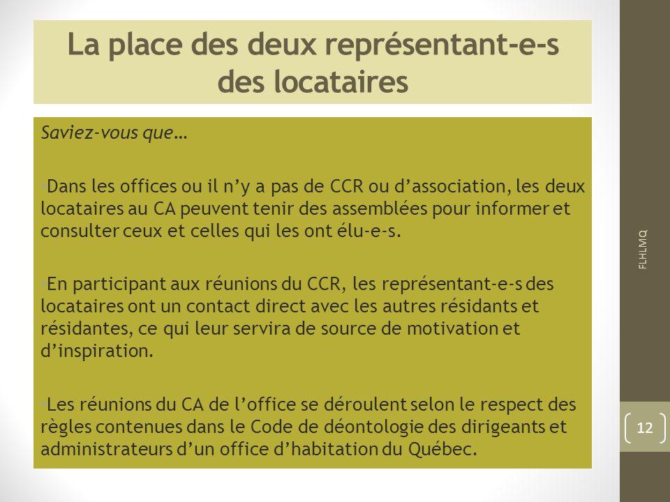 La place des deux représentant-e-s des locataires Saviez-vous que… Dans les offices ou il ny a pas de CCR ou dassociation, les deux locataires au CA p
