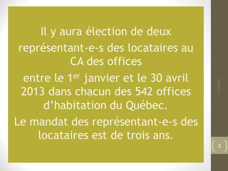 Il y aura élection de deux représentant-e-s des locataires au CA des offices entre le 1 er janvier et le 30 avril 2013 dans chacun des 542 offices dha