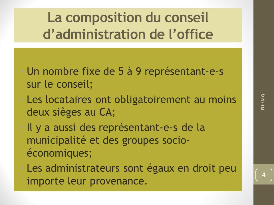 La composition du conseil dadministration de loffice Un nombre fixe de 5 à 9 représentant-e-s sur le conseil; Les locataires ont obligatoirement au mo