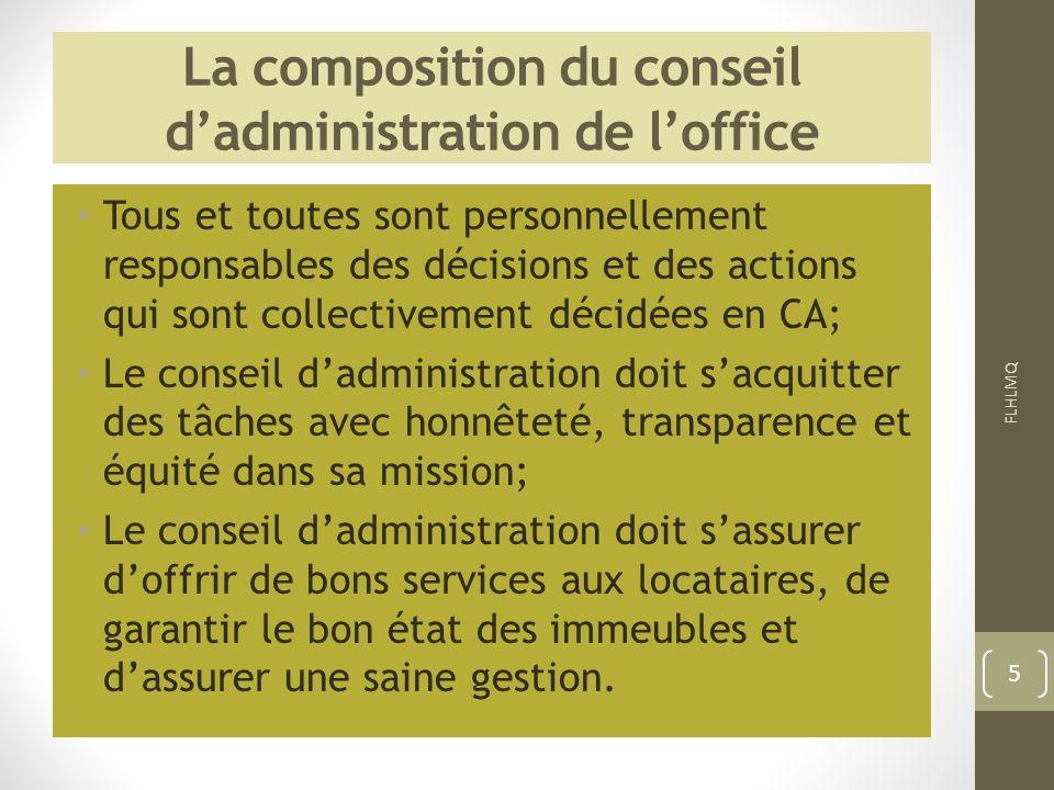 La composition du conseil dadministration de loffice Tous et toutes sont personnellement responsables des décisions et des actions qui sont collective
