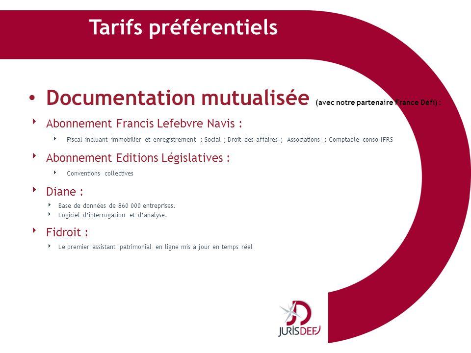 Tarifs préférentiels Documentation mutualisée (avec notre partenaire France Défi) : Abonnement Francis Lefebvre Navis : Fiscal incluant immobilier et